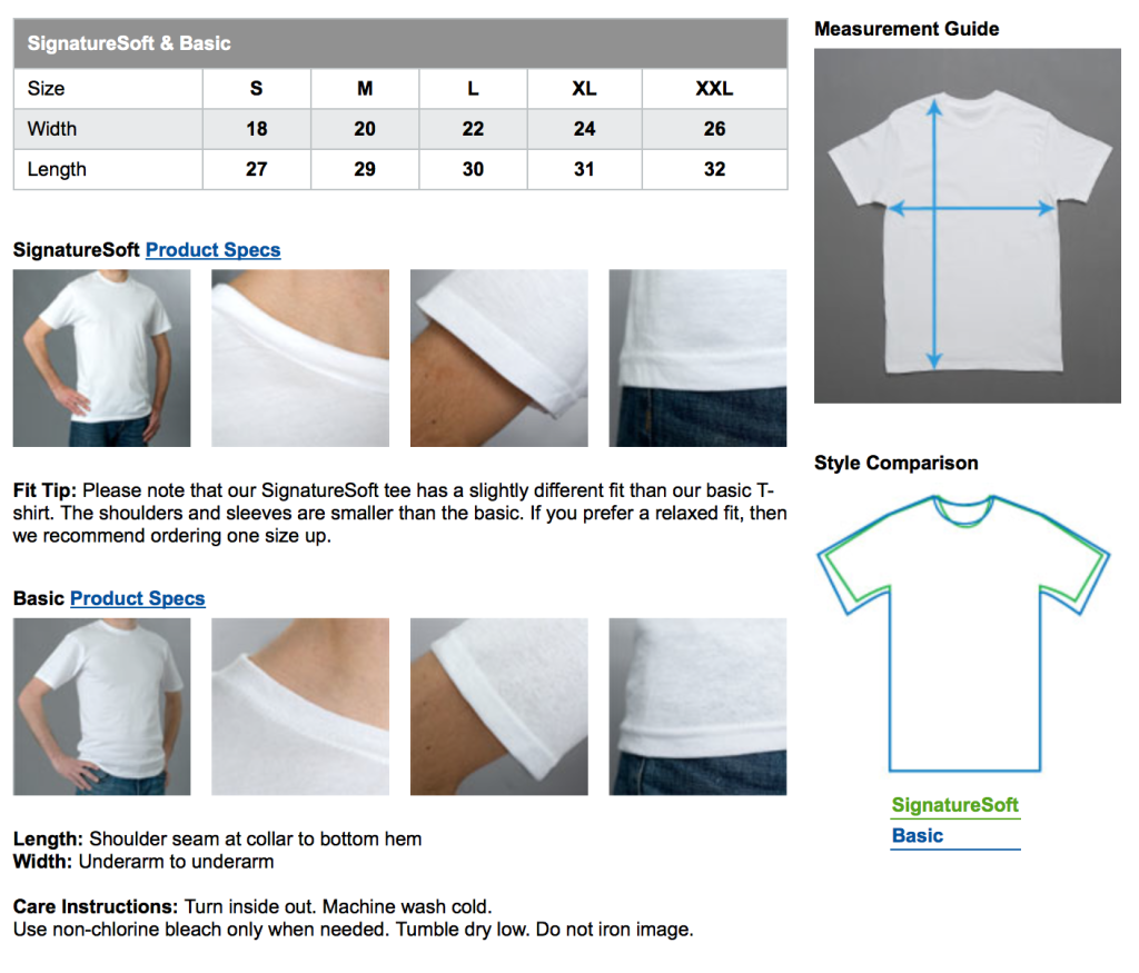 Men's T-shirt_Sizing Information